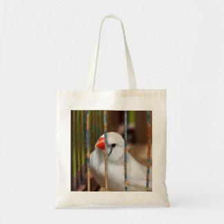 Oiseau blanc de pinson de zèbre dans la cage sac en toile