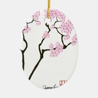 oiseau blanc d'oeil de fleur de Sakura, fernandes Ornement Ovale En Céramique