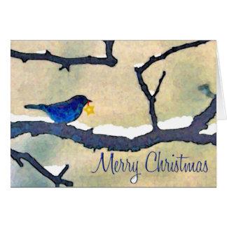 Oiseau bleu avec la carte de Noël d'étoile