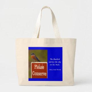Oiseau bleu avec la citation de Thoreau Sac
