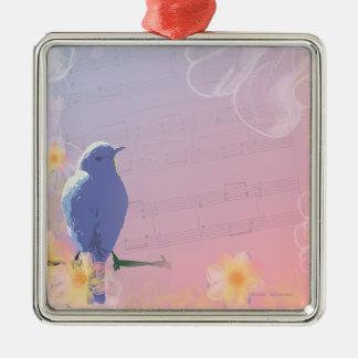 Oiseau bleu couleur pêche : Oiseaux et fleurs de Ornement Carré Argenté