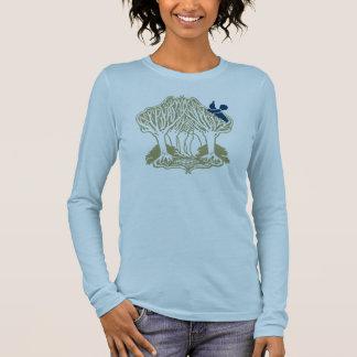 Oiseau bleu dans les arbres t-shirt à manches longues