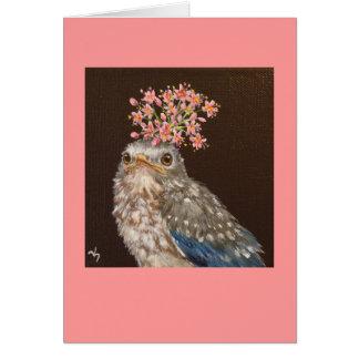 oiseau bleu de bébé avec la carte d'ail sauvage