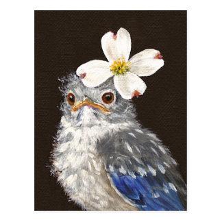 Oiseau bleu de bébé de Hélène avec la carte