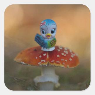 Oiseau bleu des autocollants de bonheur