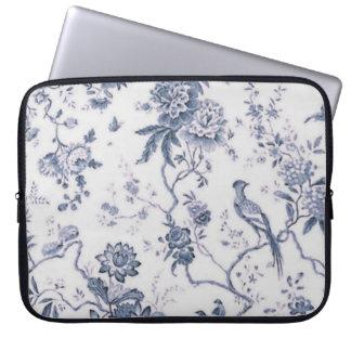 Oiseau bleu et blanc vintage mignon floral trousse ordinateur