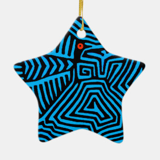 Oiseau bleu indien de Kuna Ornement Étoile En Céramique