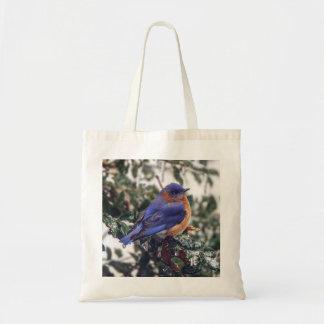 Oiseau bleu oriental sur le sac fourre-tout à