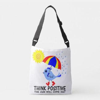 Oiseau bleu - pensez le message positif sac ajustable
