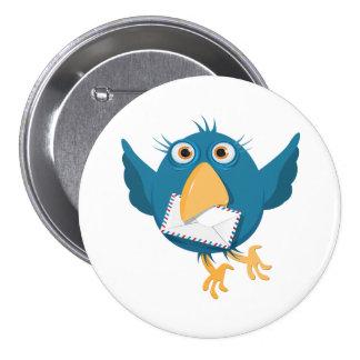 Oiseau bleu tenant une enveloppe badges