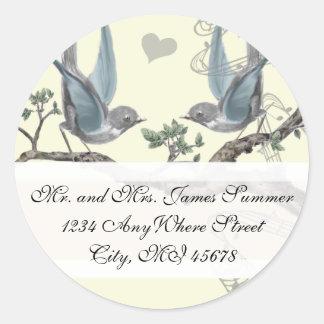 Oiseau bleu vintage épousant l'adresse de retour sticker rond