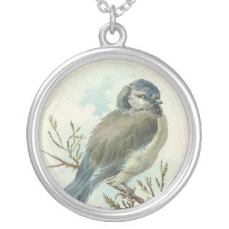 Oiseau bleu vintage pendentif rond
