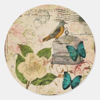 oiseau botanique de Français de cage à oiseaux de Sticker Rond
