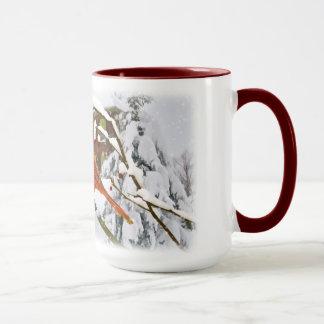 Oiseau cardinal, neige, hiver, tasse