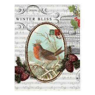 Oiseau-Carte postale vintage de Vacance-Hiver