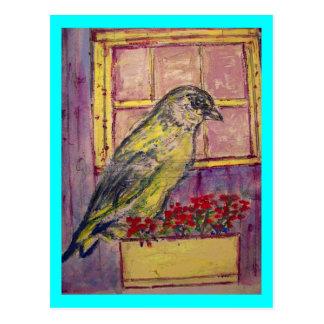 oiseau chanteur dans le croquis de boîte de fenêtr cartes postales