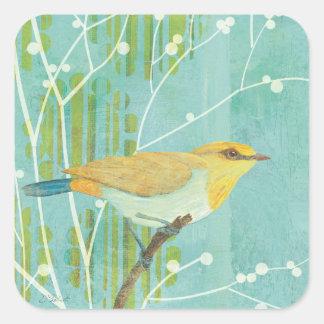 Oiseau chanteur de ciel bleu sticker carré