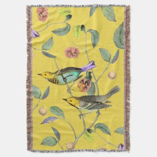 Oiseau chanteur vintage jaune pâle couvre pied de lit