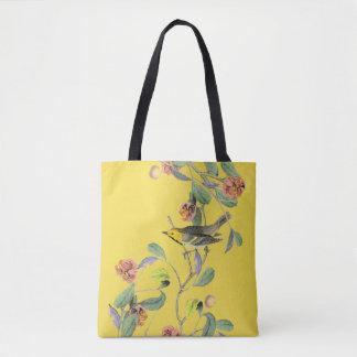 Oiseau chanteur vintage jaune pâle sac