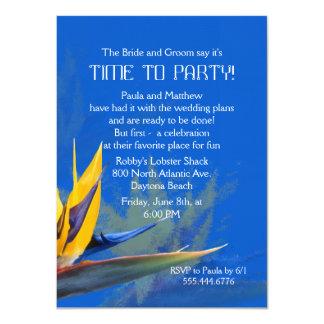 Oiseau d'amusement bleu de paradis indiquant le carton d'invitation  11,43 cm x 15,87 cm