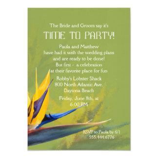 Oiseau d'amusement de vert de paradis indiquant le carton d'invitation  11,43 cm x 15,87 cm