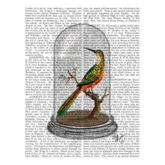 Oiseau dans cloche en verre carte postale