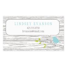 Oiseau dans une télécarte d'arbre de bouleau cartes de visite professionnelles