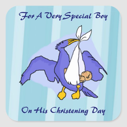 Oiseau de baptême de garçons autocollants carrés