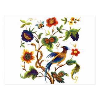 Oiseau de broderie Jacobean de paradis Cartes Postales