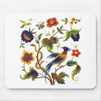 Oiseau de broderie Jacobean de paradis Tapis De Souris