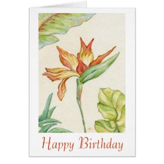 Oiseau de carte d'anniversaire de paradis