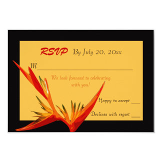 Oiseau de carte de réponse de paradis carton d'invitation 8,89 cm x 12,70 cm