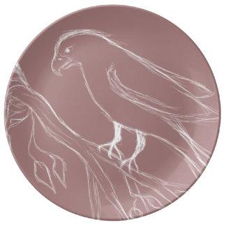 oiseau de chant assiette en porcelaine