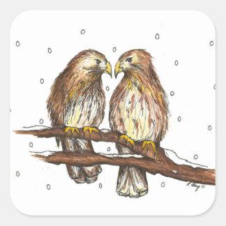 Oiseau de faucon coupé la queue par rouge masculin sticker carré