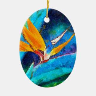 oiseau de fleur de paradis ornement ovale en céramique