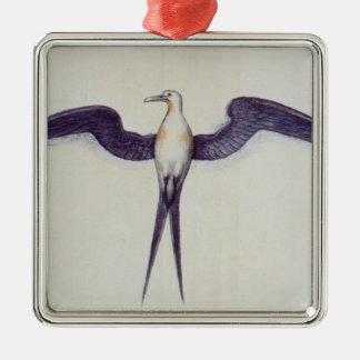 Oiseau de frégate ornement carré argenté