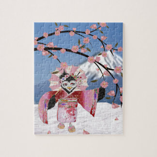 Oiseau de geisha de Sakura dans les fleurs de Puzzle