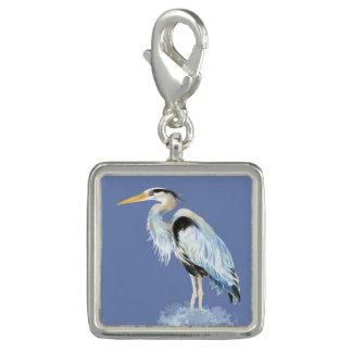 Oiseau de héron de grand bleu d'aquarelle breloque