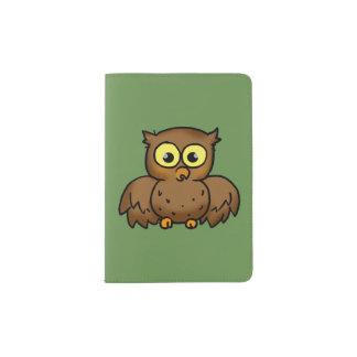 oiseau de hibou de bande dessinée protège-passeport