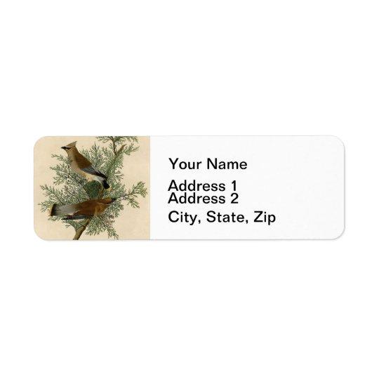 Oiseau de jaseur de cèdre d'Audubon Étiquettes D'adresse Retour