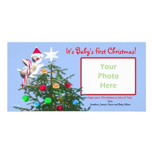 Oiseau de Joyeux Noël - premier Noël du bébé Modèle Pour Photocarte