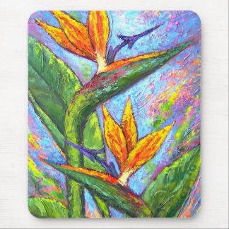 Oiseau de la peinture tropicale de fleur de tapis de souris