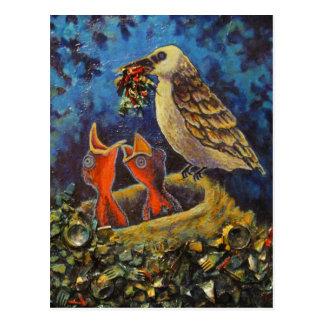 Oiseau de mamans, carte postale réutilisée d'art
