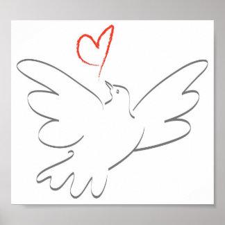 Oiseau de paix et de coeur posters