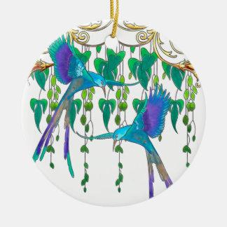 Oiseau de quetzal bleu ornement rond en céramique