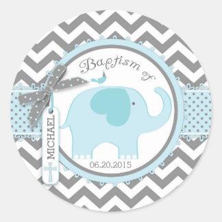 Oiseau d'éléphant bleu et baptême d'impression de sticker rond