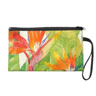 Oiseau des fleurs | du paradis tropical sac à main avec dragonne