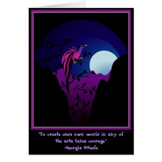 Oiseau du paradis éclairé par la lune carte de vœux