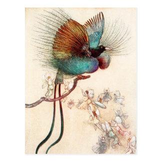 Oiseau du paradis et des fées carte postale