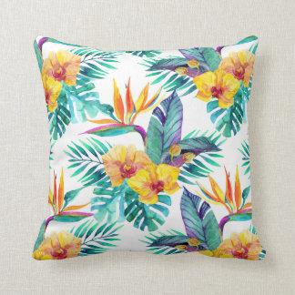 Oiseau du paradis et du motif d'orchidée coussins carrés